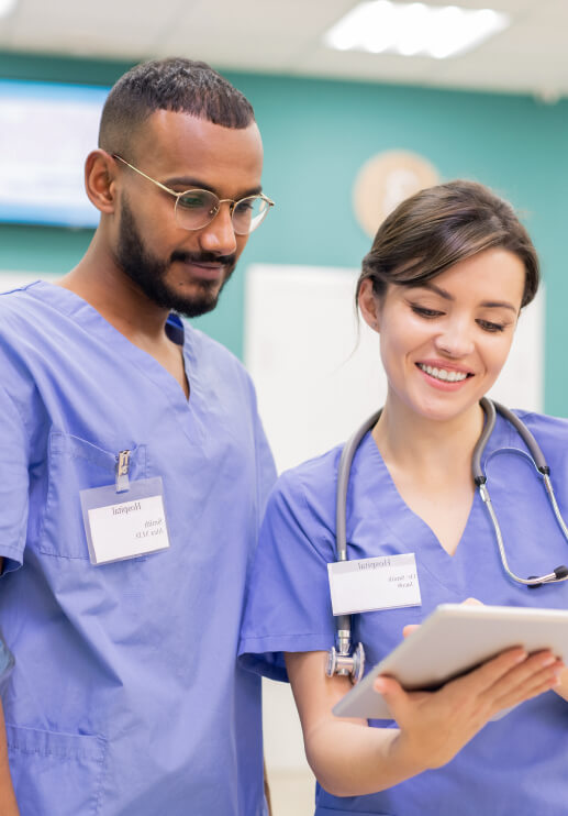 Nurses Looking At Rapid and Free COVID-19 Test Results